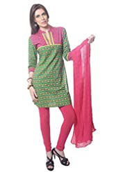 Saving Tree Green Cotton A Line Suit With Matching Contrast Legging And Dupatta - B00QIEEXAU
