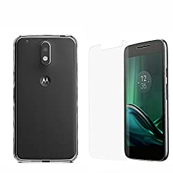 Moto G4 Play Tempered Glass , {Combo bonaza} 0.3mm Premium Pr+ HD Tempered Glass Screen Protector + 0.5 mm Premium Soft Flexible Transparent Back Cover