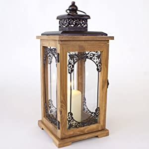 Large wooden candle lanterns