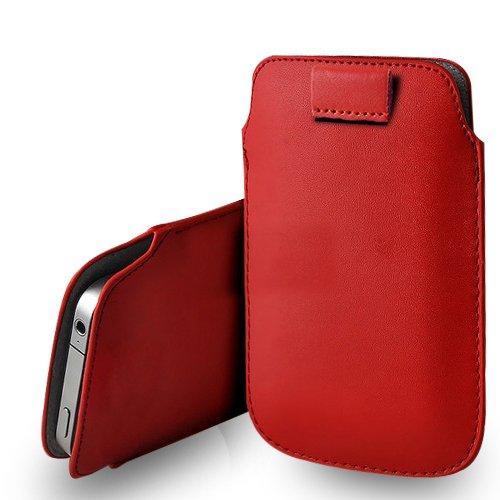 Huawei Ascend G620s Red Leder Pull Tab Tasche Tasche & Poliertuch