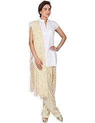 Womens Cottage Light Yellow Bandhani Printed Cotton Semi Patiala & Cotton Dupatta With Beads