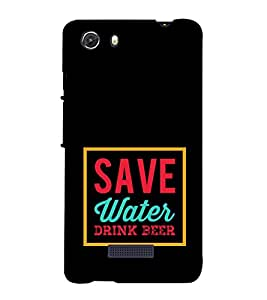 Save Water Drink Beer 3D Hard Polycarbonate Designer Back Case Cover for MIcromax Canvas Unite 3 Q372
