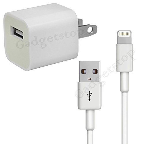 Apple Wall Charger + 8 Pin Data Sync Cable For Apple Iphone 5 5C 5S 6