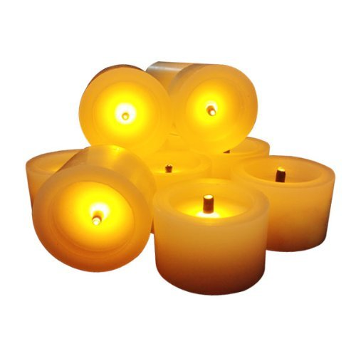 Eglow Flameless Candles - Flickering Led Candles With A Build In Timer Faux Black Wick Set Of 6 Battery Powered Romantic Ivory Votive Candles - Fake Candles - For Weddings, Christmas, Funerals, Great Gift - Stunning Decor - 10 Year Warranty
