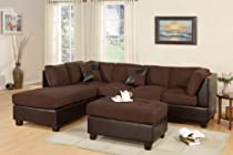 Big Sale Montpellier 3-piece Sectional Sofa Set in Microfiber/Faux Leather with Free Ottoman and Pillows (Chocolate)