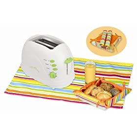Kalorik TO-25908L Sunny Morning 700-Watt 2-Slice Toaster with Bread Basket and 2 Table Mats, Lime