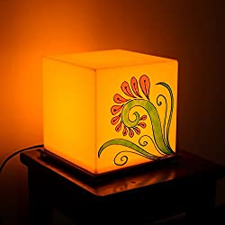 eCraftIndia Flower Painted Acrylic Yellow Cubical Table Lamp