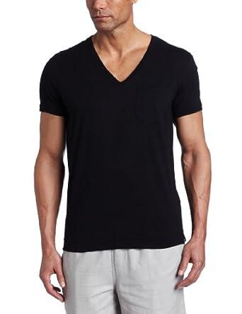 (暴跌)CK主标Calvin Klein Men's Bold V-neck Pajama纯棉透气休闲T恤黑,$15.94