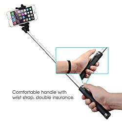 ShopX Compact Selfie Stick Aux for iPhone and Android V2 Plug n Play [Battery Free]