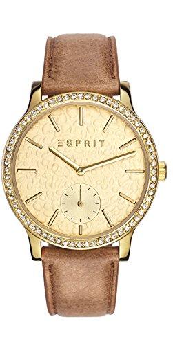ESPRIT Jamie Mujer Reloj De Cuarzo Dorado con esfera analógica pantalla y correa de piel color marrón es108112002