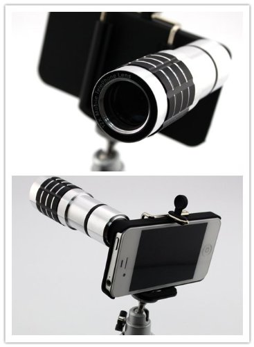 Big Dragonfly Apple Iphone 4 4S Camera Lens Kit Includes / 12 X Telephoto Manual Focus Telescope Camera Lens / 1 Mini Tripod / 1 Flexible Universial Holder / 1 Special Protection Case For Iphone 4 4S / 1 Cleaning Cloth / 1 Black Pouch Included