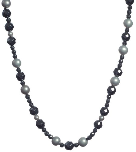 Faceted Hematite and Dyed Cultured Pearl Necklace, 36