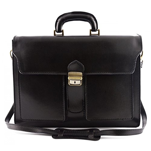 Cartella Professionale In Pelle Vera 3 Scomparti E 2 Tasche Colore Nero - Pelletteria Toscana Made In Italy - Business