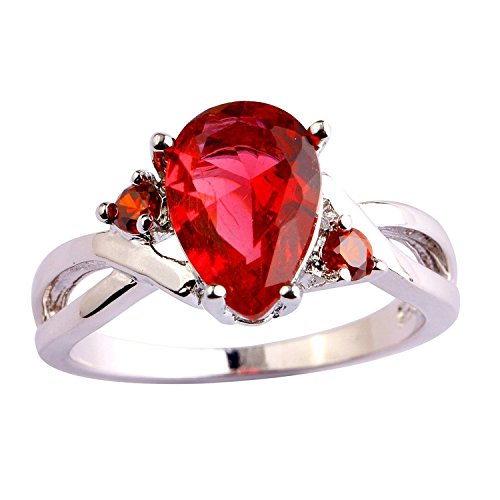 Psiroy 925 Sterling Silver Stunning Created Gorgeous Women's 7mm*10mm Pear Cut CZ Ruby spinel Filled Ring