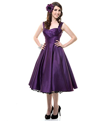 Unique Vintage Eggplant Satin Happily Ever After Pleated Swing Dress
