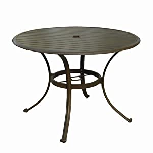 Panama Jack Island Breeze Slatted Aluminum 42 in. Round Patio Dining Table with Umbrella Hole - Espresso from Hospitality Rattan