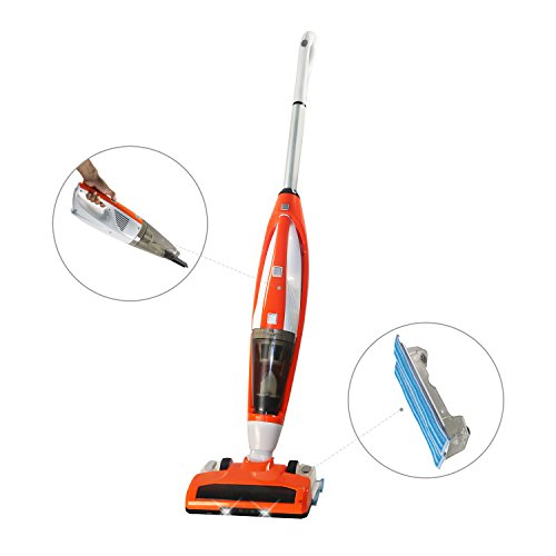 FINE DRAGON 3-in-1, 3+1 Functions New Cordless Upright Stick Vacuum Cleaner, Handheld Vacuum and Bagless Sweeper Vac with Water Tank Wet/Dry Cleaning Mop for Carpet and Floor (Orange) (Dry Mop Vacuum compare prices)