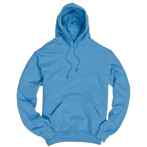 Youth Size Electric Blue Essential Fleece Hoodie, Unisex Fit, Pockets, Medium