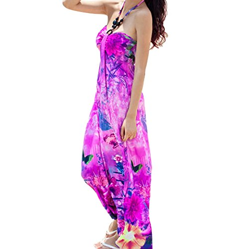 Women Ladies Printed Hater Sexy Sling Boho Long Maxi Dress Size M - Rose Red