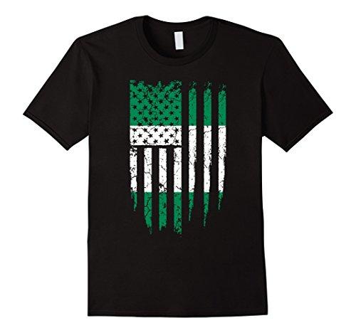 Men's Nigerian American Nigeria & America Flag T-Shirt XL Black (America Grown compare prices)