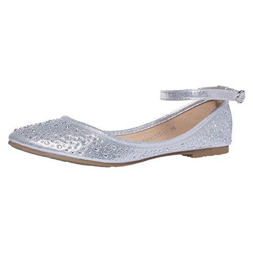 SheSole Women's Ballet Flat Silver US 8
