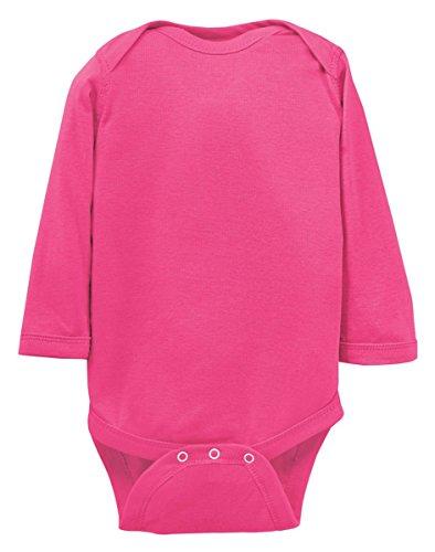 Rabbit Skins Little Girl's Rib Lap-Shoulder Bodysuit, Hot Pink, 6 Months