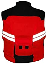 MOTORCYCLE SCOOTER Red Reflective Visibility Vest L