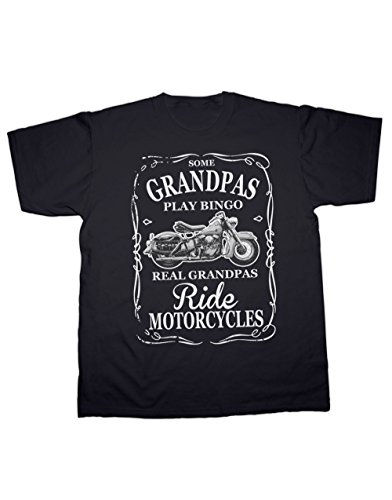 Real Grandpas Ride Motorcycles T-shirt. All Sizes. 100% Cotton. Hotfuel (XL, Black)
