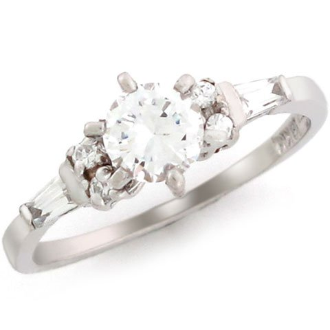 10k White Gold 5.25mm Round CZ Baguette Promise Ring
