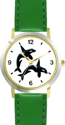 Two Orcas Or Killer Whales - Jp - Watchbuddy® Deluxe Two-Tone Theme Watch - Arabic Numbers - Green Leather Strap-Size-Children'S Size-Small ( Boy'S Size & Girl'S Size )