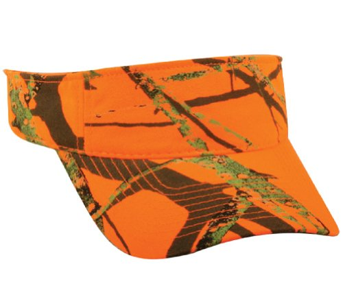 Review Of Mossy Oak Blaze Visor Unisex Hunter Orange Camo Sun Hat Cap, Ponytail Velcro