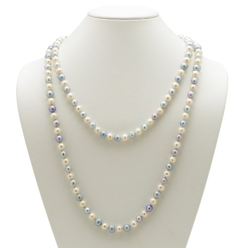PalmBeach Jewelry Aquamarine Blue and White Cultured Freshwater Pearl Necklace