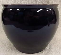 Onyx Black Porcelain Fish Bowl 18\