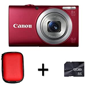 Canon PowerShot A4000 IS Digital Camera - Red + Case and 8GB Memory Card (16.0 MP, 8x Optical Zoom) 3.0 inch LCD