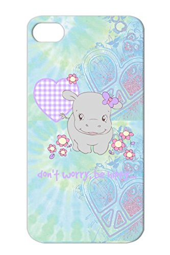 Tpu Dont Worry Be Hippy Silver Funny Baby Flowers Hippo Hippy Girl Quotations Cute Fluffyfeelings.Com Protective Hard Case For Iphone 4S front-703430