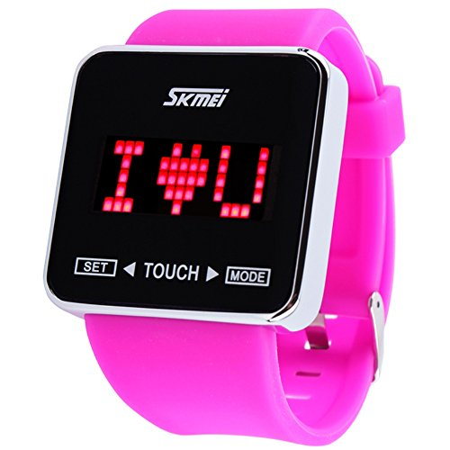 Skmei Touch Screen Digital Led Waterproof Boys Girls Sport Casual Wrist Watches Purple-Red