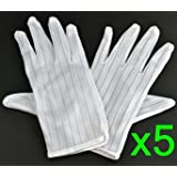 Bluecell 5 pair White color Stripe Anti Static Gloves for computer/electronic/working/repairing