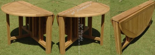 """Grade-A Teak Wood 48"""" Round Butterfly Dining Table [**Click to see all sizes..]"""