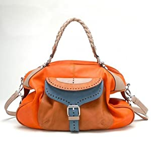 Tosca Buckle Eyelet Style Satchel Handbag (Orange)