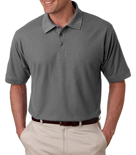 UltraClub 8540T Men's Plain Tall Whisper Pique Polo Shirt 2XLT Graphite