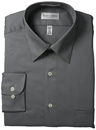 Van Heusen Men's Wrinkle Free Lux Sateen Long Sleeve Shirt,Grey,15 32/33