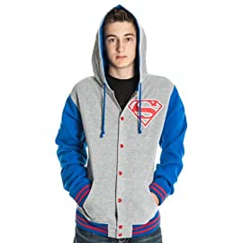 Superman Letterman Mens Gray Hoody