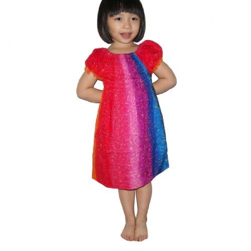 Baby Girls Thai Exotic Gathered / Smocked Bodice Flowing Ruffle Sleeves Summer Dress - Size: 4