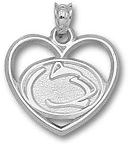 Penn State Nittany Lions Lion Head Heart Pendant - 14KT White Gold Jewelry by Logo Art
