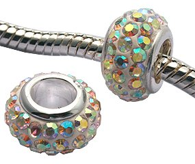 crystal beads by GlitZ JewelZ © - 7mm (1/4 inch) long - made with over 60 crystals - fits pandora & troll bracelets - can also be worn as pendant - comes with a cute velvet pouch - add this gleaming bead to your pandora charms collection