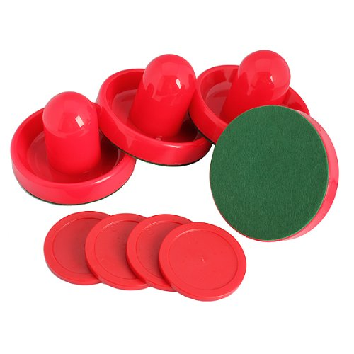 Best Price Vktech 4Pcs Air Hockey Table Goalies with 4pcs Puck Felt Pusher Mallet Grip Red