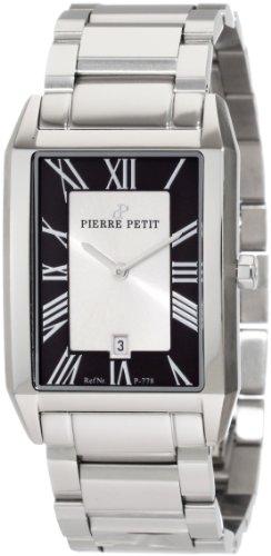 Pierre Petit P-778C - Reloj analógico de cuarzo para hombre con correa de acero inoxidable, color plateado