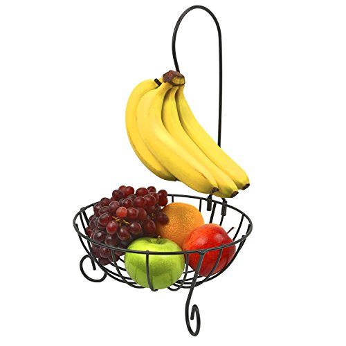Deluxe Black Finish Fruit Holder Storage Basket Stand w/ Banana Hanger Hook (Fruit Ripener compare prices)