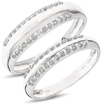 1/2 Carat T.W. Round Cut Diamond Matching Wedding Rings Set 14K White GoldTwo Rings: Ladies Wedding Band and Men's Wedding Band - Free Gift Box - Size 11.5