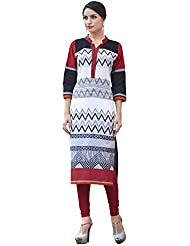 EthnicCrush Women's Cotton Printed Kurti(ECHTBinto1527,Black & White)
